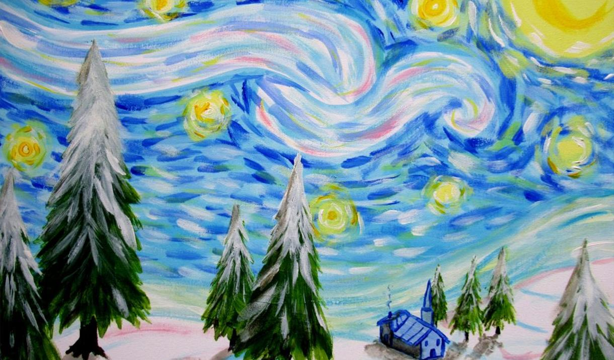 Paint Snowy Starry Night! + Prosecco