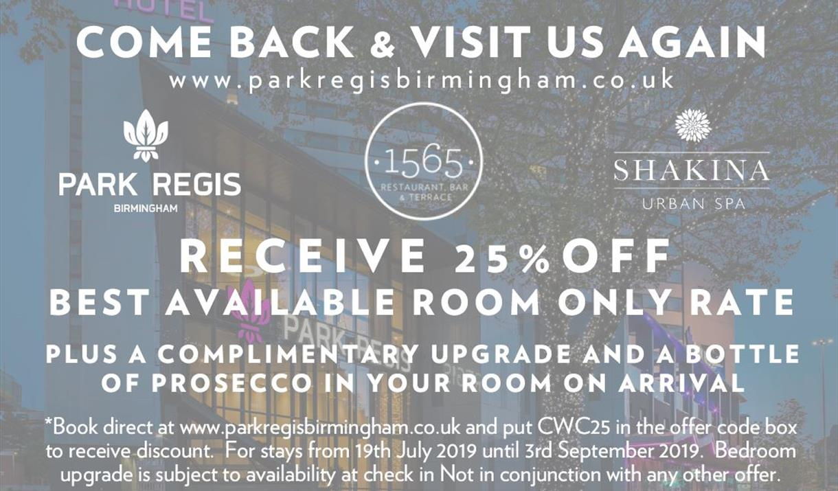 Receive 25 % off plus a complimentary upgrade at Park Regis Hotel